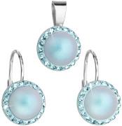 Strieborná súprava šperkov Swarovski elements 39091.3 Sv modra