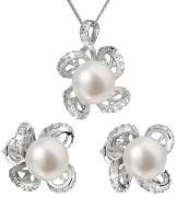 Strieborné sada perlových šperkov sa zirkónmi 29016.1