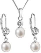 Strieborné sada perlových šperkov sa zirkónmi 29006.1