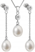 Set strieborných perlových šperkov sa zirkónmi 29005.1