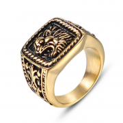 Pečatný prsteň z chirurgickej ocele zlatý WJHZ578