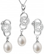 Súprava perlových strieborných šperkov 29036.1