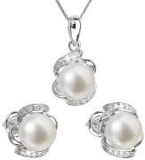 Set strieborných perlových šperkov sa zirkónmi 29017.1