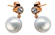 Oceľové náušnice visacie s perlou SEE228