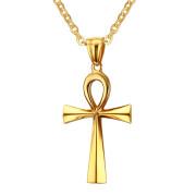 Zlaty oceľový prívesok nílsky kríž JCFPN-645g