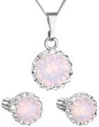 Strieborná súprava šperkov sa Swarovski elements 39352.7 Ružový opál