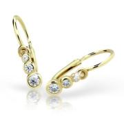 Náušnice pre babatko zlaté Cutie Jewellery C2255Z CZ White