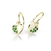 Zlaté detské náušnice Cutie Jewellery C2160Z-Green