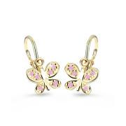 Náušničky pre bábätko zlaté Cutie C2748Z-Pink