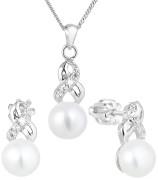 Strieborna sada perlových šperkov sa zirkónmi 29044.1