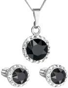 Set strieborných šperkov Swarovski elements 39352.3 Čierna