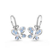 Detské zlate naušnice Cutie Jewellery C2748B Modrý motýlik