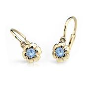 Detské náušnice Cutie Jewellery C2151Z Arctic Blue -Žlte zlato 585/000