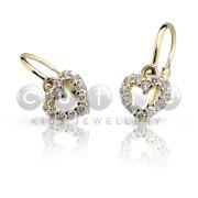Detské náušnice Cutie Jewellery C2157Z CZ White -Žlte zlato 585/000