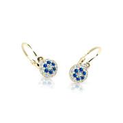 Náušnice pre bábätko zo žltého zlata Cutie Jewellery C2150Z-Blue Dark