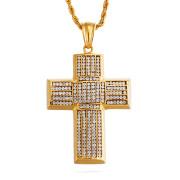 Oceľový náhrdelník kríž so zirkónmi WJHC256