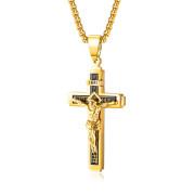 Oceľový náhrdelník kríž SEGX1626