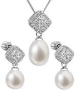 Strieborné sada perlových šperkov sa zirkónmi 29008.1