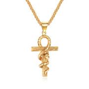 Oceľový prívesok nílsky kríž JCFGX1420-Zlatý had