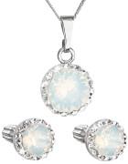 Set strieborných šperkov Swarovski elements 39352.7 Biely opál