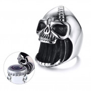 Oceľový prsteň pre motorkárov lebka SERC413