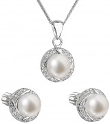 Set strieborných perlových šperkov sa zirkónmi 29004.1