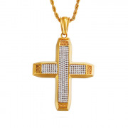 Masívny oceľový náhrdelník kríž so zirkónmi WJHC255