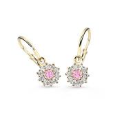 Zlaté náušnice pre bábätko Cutie Jewellery C2749Z Ružová