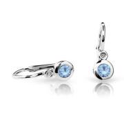Detské náušnice Cutie Jewellery C1537B Arctic Blue -Biele zlato 585/000