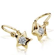 Detské náušnice Cutie Jewellery C1942Z CZ White -Žlté zlato 585/000