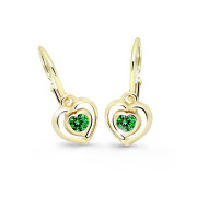 Detské zlate naušnice Cutie Jewellery C2752Z-Green
