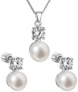 Set strieborných perlových šperkov sa zirkónmi 29002.1
