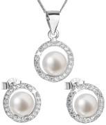 Súprava perlových strieborných šperkov 29023.1
