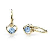Detské náušnice Cutie Jewellery C1943Z Arctic Blue -Žlté zlato 585/000