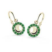 Zlaté náušnice pre bábätko Cutie Jewellery C2750Z Zelená