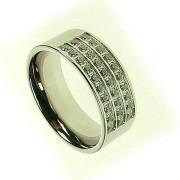 Oceľový prsteň so zirkónmi ZR374