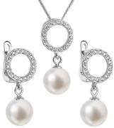 Súprava perlových strieborných šperkov 29013.1