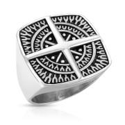 Oceľový pečatný prsteň pre mužov 7349