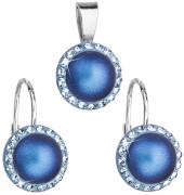 Strieborná súprava šperkov Swarovski elements 39091.3 Tm modra