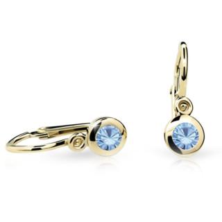 Detské náušnice Cutie Jewellery C1537Z Artick Blue -Žlté zlato 585/000