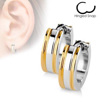 Náušnice krúžky so zlatými prúžkami 017-RD