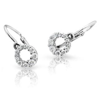 Zlate detské náusnice Cutie Jewellery C2154B CZ White
