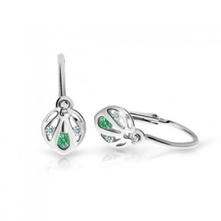 Detské naušničky z bieleho zlata Cutie Jewellery C2265B-Emerald Green