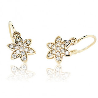 Detské náušnice Cutie Jewellery C2206Z CZ White Žlte zlato 585/000