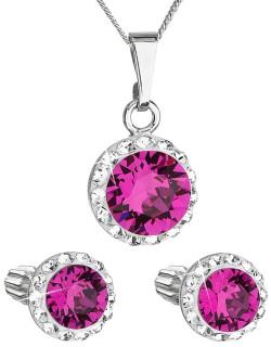 Set strieborných šperkov Swarovski elements 39352.3 Fuchsia