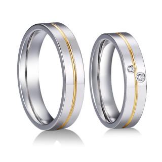 Oceľové snubné prstienky kombinovane SPPL028