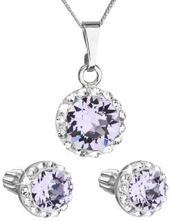Strieborná súprava šperkov sa Swarovski elements 39352.3 Fialová