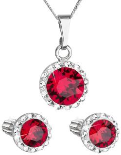 Strieborná súprava šperkov sa Swarovski elements 39352.3 Červená