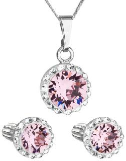 Set strieborných šperkov Swarovski elements 39352.3 Ružová