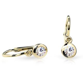 Detské náušnice Cutie Jewellery C1537Z CZ White -Žlte zlato 585/000